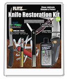 Flitz KR 41511 All-in-One Knife Restoration Care Kit – Clean, Polish, Protect and Sharpen Your Knives, Microfiber Cloth + Knife Sharpener Included, One Size