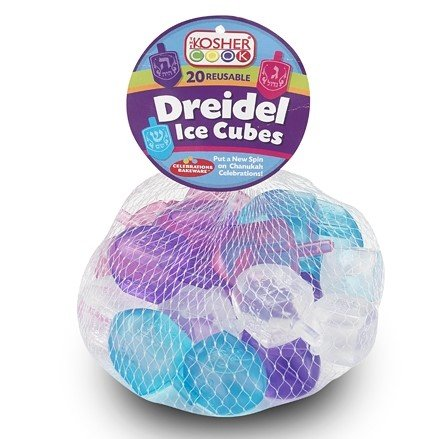 The Kosher Cook Dreidel Shaped Reusable Ice Cubes - 20 Pack - Food Grade Freezer Safe Silicone - Freeze and Reuse to Chill Drinks without Melting or Diluting - Chanukah Cookware