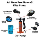 "PKS Pro Flow V3 Kite Pump 20"" for Kiteboarding SUP"