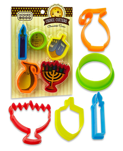 Chanukah Cookie Cutter Set - 5 Pieces - Menorah, Dreidel, Oil Jug, Chanuka Gelt and Candle Shaped Plastic Cutters - Chanukah Cookware and Bakeware by The Kosher Cook