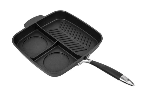 "MasterPan Non-Stick 3 Section Meal Skillet, 11"", Black"