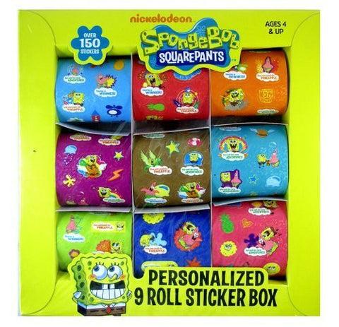 Sponge Bob: Personalized 9 Roll Sticker Box