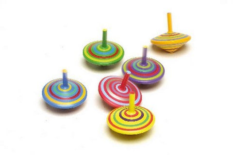 Stripey Spinning Tops | Set of 6