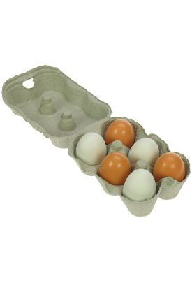 Wooden Play Food 6 Eggs in a Carton