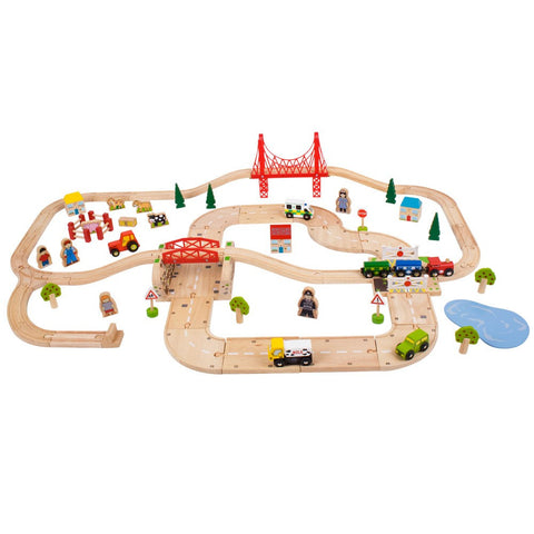 Rural Wooden Road & Train Set | 80 Piece