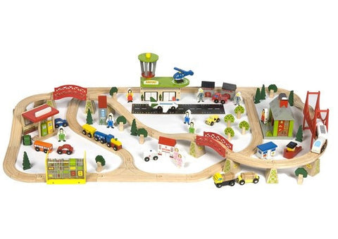 Transportation Wooden Train Set | 124 Piece
