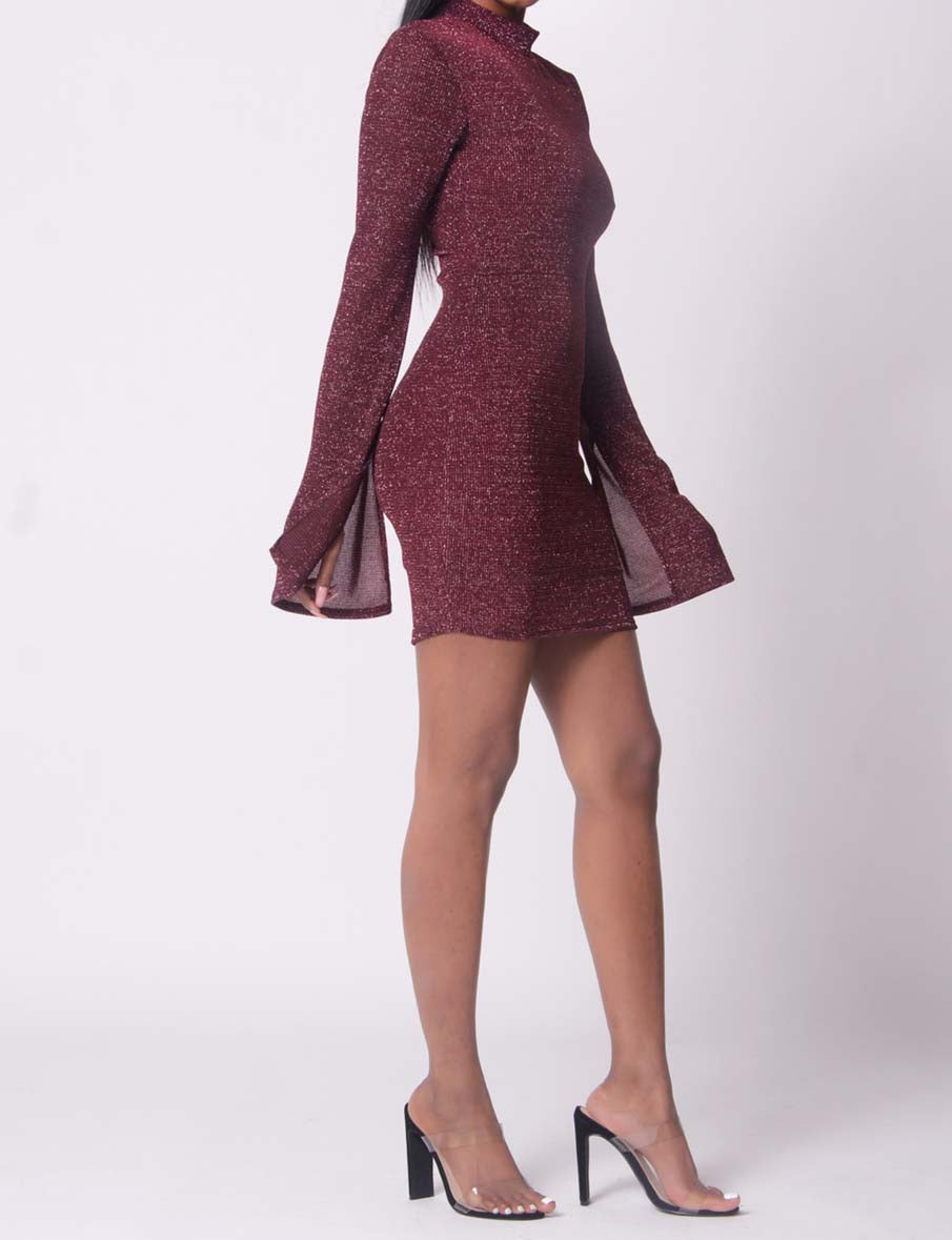 Wine Josie Metallic Knit Dress