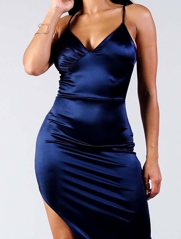 Navy Sierra Satin Dress