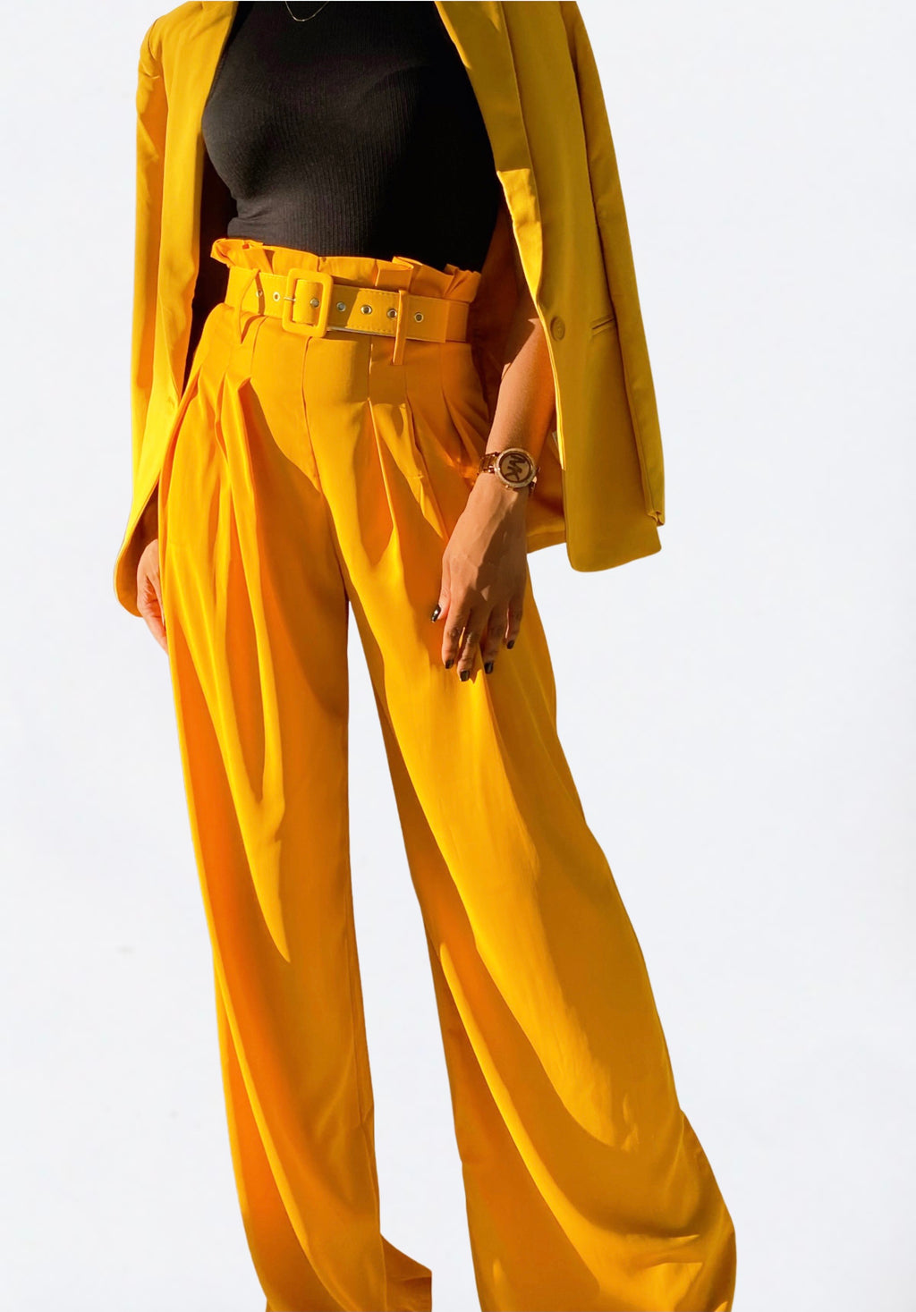 'Suburban' High Waist Belted Wide Leg Trousers