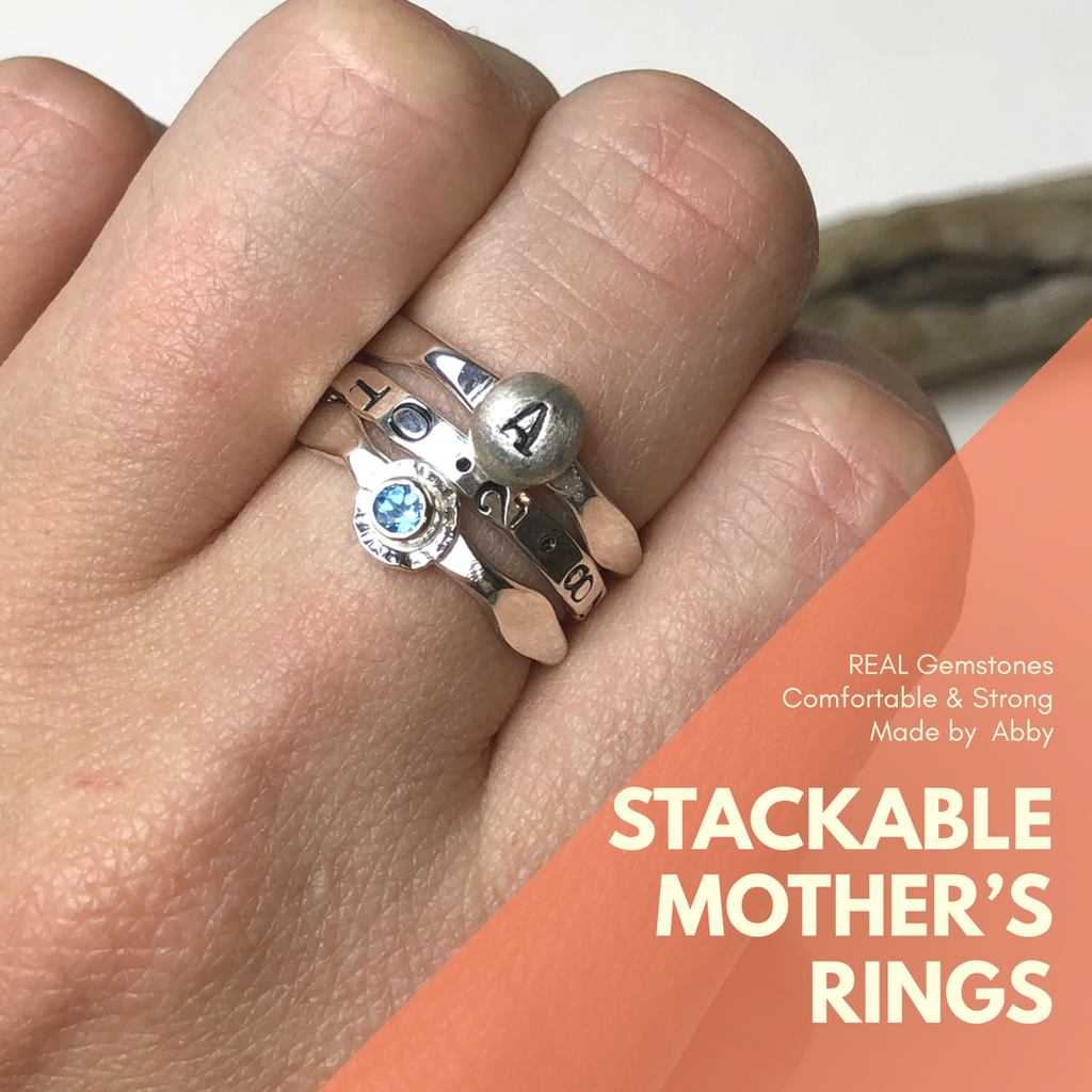 Mother's Stackable Rings with Birthdate, Initial, and Birthstone!