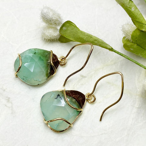 Chrysoprase Earrings Yellow Gold Mettle by Abby