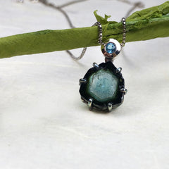 Blue Watermelon Tourmaline Necklace Mettle by Abby