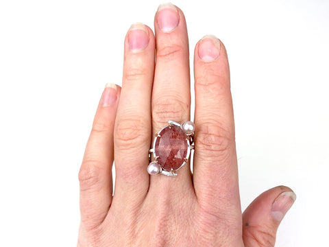 Cherry Quartz Ring with Pink Pearls
