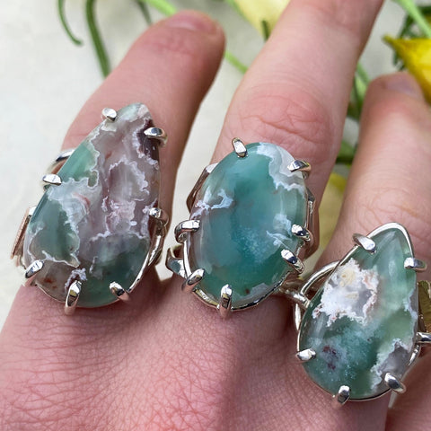 Chrysoprase Rings on Hand Mettle by Abby