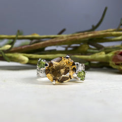Citrine and Peridot Star Dust Ring Mettle by Abby
