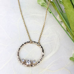 Hammered Gold Circle 3 Diamond Necklace Mettle by Abby