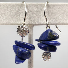 Lapis and Diamond Earrings Mettle by Abby