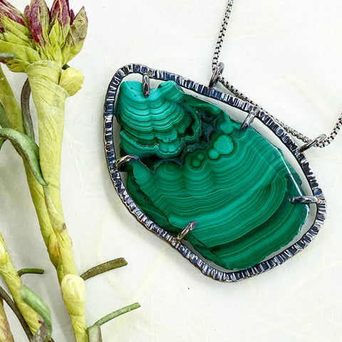 Malachite Slice Necklace Mettle by Abby