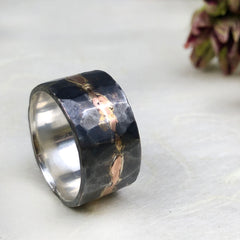Mens Wedding Band Silver and Rose Gold Mettle by Abby
