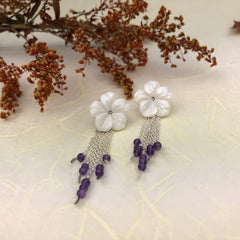 Mother of Pearl Flowers and Amethyst Earrings Mettle by Abby