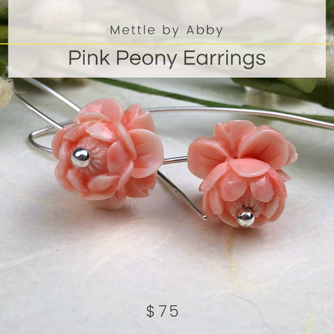 Pink Peony Earrings Mettle by Abby