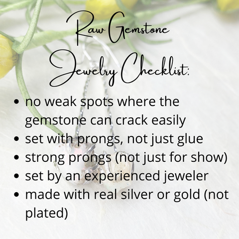 raw gemstone jewelry checklist