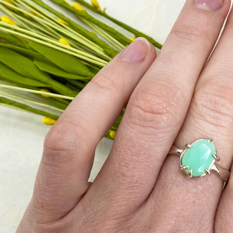 Solid Chrysoprase Silver Ring Mettle by Abby
