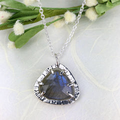 Rose Cut Labradorite Necklace Mettle by Abby