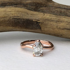 Rose Gold Pear Shape Tear Drop Engagement Ring Mettle by Abby