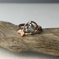 Rose Gold Sapphire Leaf Engagement Ring Mettle by Abby