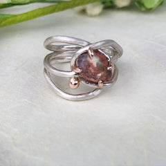 Rose Gold and Silver Boulder Opal Ring Mettle by Abby