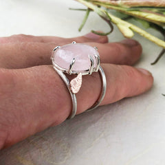 Rose Quartz Leaf Ring Mettle by Abby