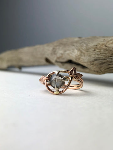 Sapphire Engagement Ring with Leaves