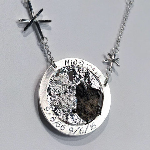 Silver moon rock necklace