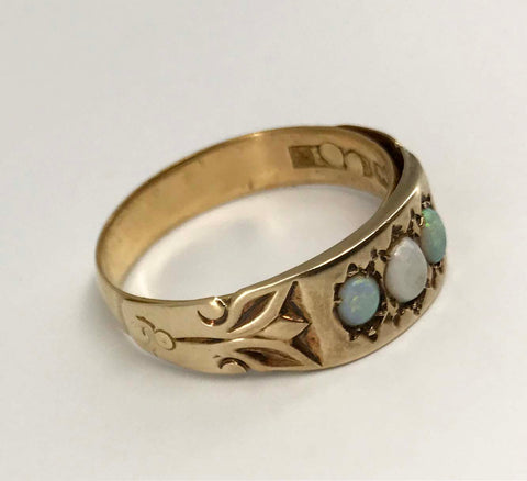 Vintage Opal Ring Before and After Remake Redesign