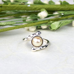 White Pearl Twist Ring Mettle by Abby