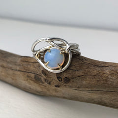 Wrapped Opal Silver and Gold Ring Mettle by Abby