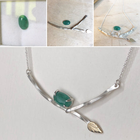 natural emerald leaf necklace start to finish
