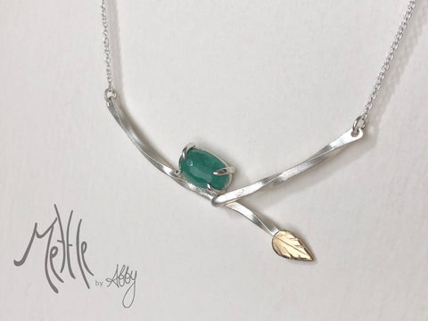 natural emerald leaf necklace