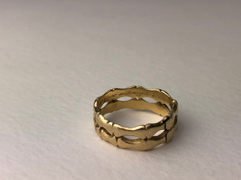 old gold wedding band hand engraved with love always