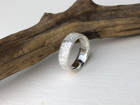 men's star dust wedding band sterling silver