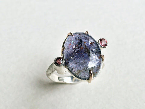 Iolite Sunstone and Rhodilite Garnet Pallete Ring