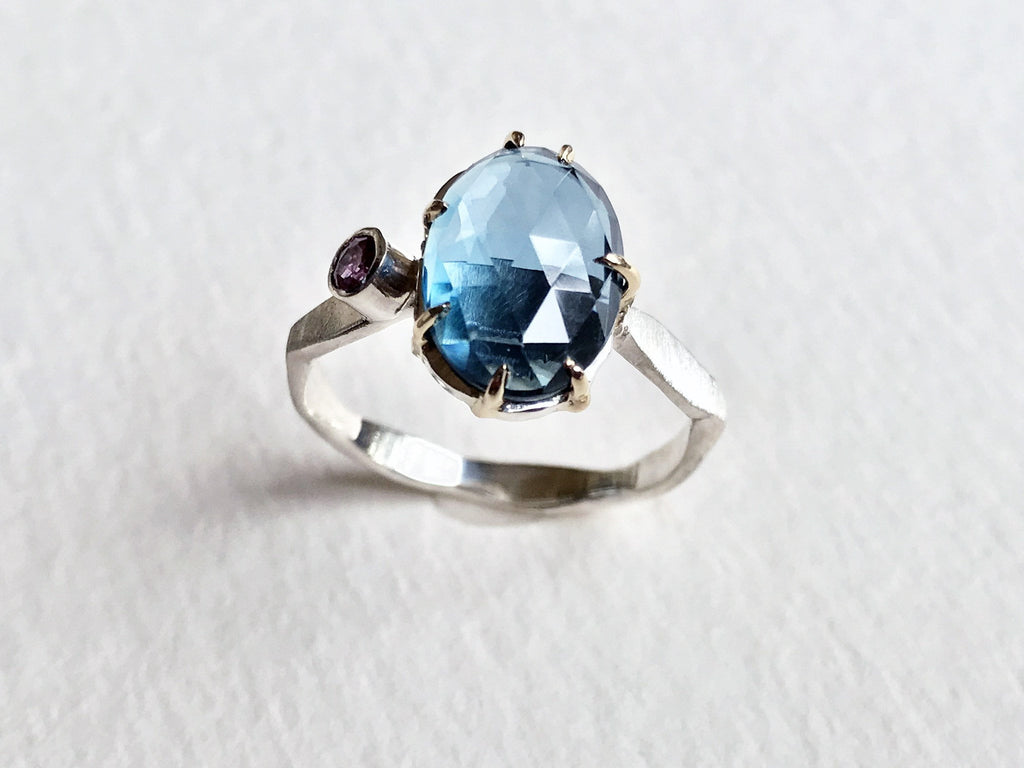 London Blue Topaz and Rhodilite Garnet Ring