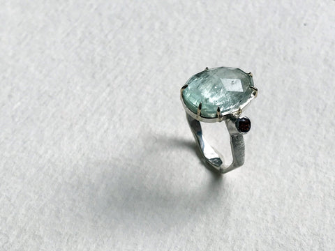 Green Aquamarine and Citrine Ring