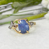 14K Yellow and White Gold Tanzanite Leaf Ring