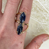 14k Double Rose Cut Sapphire Ring
