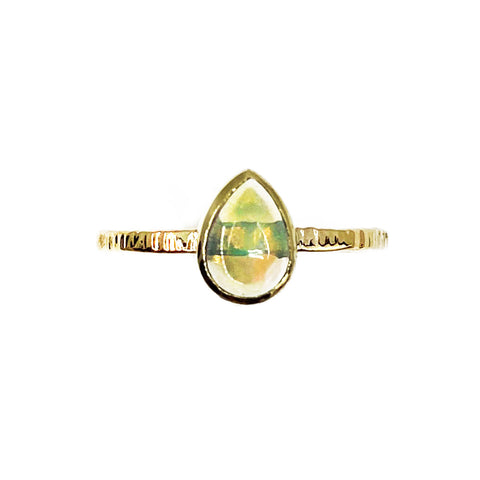 14k Gold Pear Opal Ring