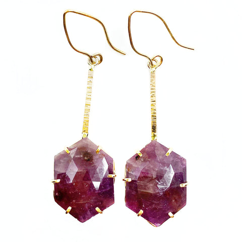 14k Gold Ruby Statement Earrings