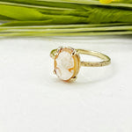 14k Petite Cameo Star Dust Ring