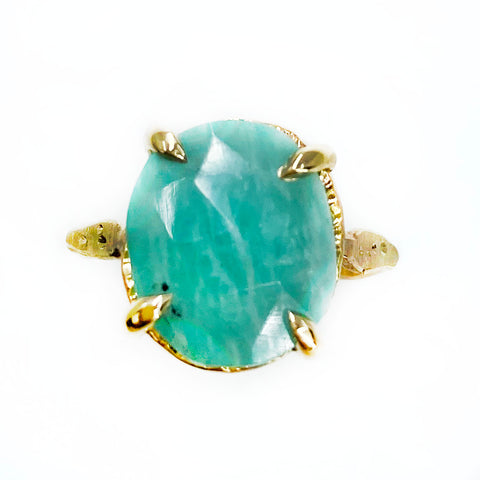 14k Rose Cut Amazonite Star Dust Hope Ring